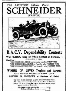 Arthur Terdich piloting 7h.p. Th. Schneider in 1927 RACV reliability trial to a class win